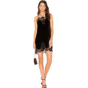 Alice + Olivia Charice Velvet Lace Trim Slip Dress